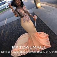 ingrosso palla vedere attraverso abito da promenade-African Black Girls Mermaid Prom Dresses 2019 Lace Appliqued Vedere attraverso manica lunga abiti da sera formale Dubai sexy Dubai Party Dress Ball