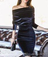 jährliche abendkleider großhandel-Pop2019 Koreanische Version des Sexy Word Collar Velvet Dinner Jährliches Meeting Ladies Dress