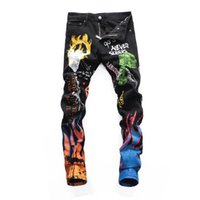 kot pantolon l toptan satış-Erkek Sıkıntı Yırtık Sıska Kot Tasarımcı Slim Fit Denim Erkekler Için tahrip Denim Hip Hop Pantolon kaliteli