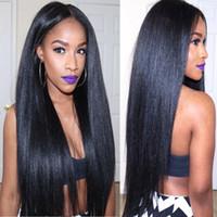 bakire muz peruklar toptan satış-Yaki U Parçası Peruk Bakire Saç Tutkalsız Brezilyalı Işlenmemiş Remy Işık Yaki Düz Upart İnsan Saç Peruk Siyah Kadınlar Için