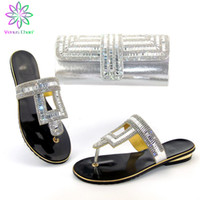 Wholesale italian shoes bags sets resale online - Silver Color PU Leather African shoes and bag set for Party Women Shoes Matching Bag Set Italian shoe with matching