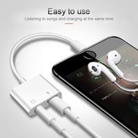kulaklık kulaklık splitter adaptörü kablo jakı toptan satış-2 in 1 Adaptörü 3.5mm Aux Jack Kulaklık Kulaklık Ses Splitter Beyaz Kablo Şarj Müzik iphone 8 Için XS Max XR