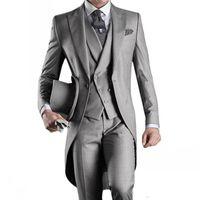 утренний стиль куртки оптовых-Сшитое на заказ смокинги для жениха в утреннем стиле 14 стиля Лучший мужчина Пик Отворот Дружки Мужские свадебные костюмы (куртка + брюки + галстук + жилет)