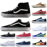 Wholesale womens classic canvas shoes sneakers resale online - 2019 Classic Van Old Skool Sk8 HI Mens Womens Canvas Sports Sneakers Black White Red YACHT CLUB Fashion Casual Shoes Size