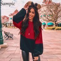 ingrosso cime rosse sciarpa rosse-Maglione a maniche lunghe casual sampico patchwork o collo maglione natalizio allentato rosso nero inverno top maglia maglione donna 2019 Y190829