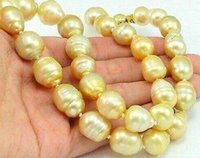 Wholesale gold natural south sea pearls for sale - Group buy 10 mm baroque natural south sea gold pearl necklace inch14k