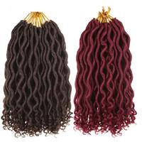empacar el cabello rizado al por mayor-12 pulgadas Goddess Faux Locs trenzas de ganchillo onduladas rizadas 12 hebras / paquete Extensiones de cabello sintético ondulado corto para mujeres negras