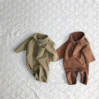 Wholesale toddler girl summer overalls resale online - Fall INS New Toddler Baby Boys Jumpsuits Blank Front Button Long Sleeve Autumn Organic Tatting Cotton Newborn Overalls Girls Rompers Onesies