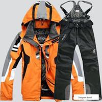 ceket pantolon kayak toptan satış-Örümcek marka yürüyüş kayak ceketler erkekler için yeni moda kamp kayak takım elbise ceket ve pantolon erkekler lüks 2 adet spor ...