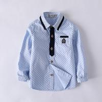 ingrosso camicia blu polka dots bianco-Uniformi Colletto rovesciato Blu Tasche bianche Camicie Ragazzi formali in cotone Polka Dot Classic per bambini