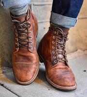 i̇ngiliz erkek çizmeleri toptan satış-Yüksek Kaliteli İngiliz Erkek Botları Sonbahar Kış Ayakkabı Erkekler Moda Dantel-up Çizmeler PU Deri Erkek Botas 2018