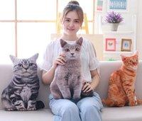 travesseiro 3d cat venda por atacado-3D Cat Almofada Gato Bonito Impresso Assento de Carro Nap Travesseiro Almofada Criativa Presente de Aniversário 50 cm