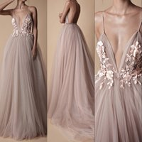 Wholesale tulle blush prom dresses resale online - Sexy Tulle Long Evening Dress Backless Court Train Flowers Blush Special Occasion Prom Gowns Custom pageant Made Vestido De Noche