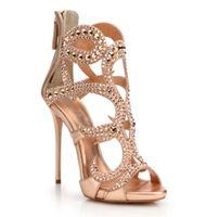 elegante sommersandalen großhandel-Luxus Sexy Frauen Sandalen High Heels Für Weibliche 2019 Frühling Sommer Dünne High Heels Hohl Kristall Einfache Elegante Frauen Pumpt Party Schuhe
