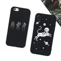 ingrosso cassa del silicone del gatto nero-PENSEN cassa del telefono 3D Relief per iPhone 6 6s 7 8 Plus X Cover Cute Cartoon nero bianco TPU morbido per iPhone 8 5 5S Space Cat Capa