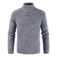 Stehkragen Strickjacke Langarm Kaschmir mit Pullover Wolle Winter gestrickten Gelegenheits Pullover Männer Pullover Wärmer Herren Bottom Man BdCeQxroW