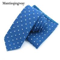 Wholesale polka dot tie handkerchief resale online - Cotton Necktie Handkerchief Sets for Mens Polka Dots Printed Skinny Neck Tie Marriage Gravatas Neck Ties Hanky