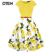 d99b41115b9 OTEN Summer Women Vintage Retro 50s 60s Cap Sleeve O Neck Floral Flower  Lemon Printed Rockabilly Pin up skater dress casual New Y19042401
