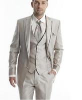 corbata de champán al por mayor-Boda el novio esmoquin Luz Champagne padrinos de boda muesca solapa / Trajes Cena mejor hombre Novio (+ Pants + Tie + Vest Jacket) CY07