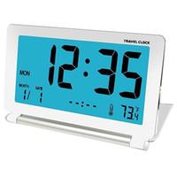 mavi lcd çalar saat toptan satış-Seyahat Çalar Saat Lcd Mini Dijital Masa Katlanır Elektronik Alarm Masa Saatleri Mavi Aydınlatmalı Erteleme Takvim