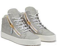 sapatos homem italia novo venda por atacado-NEW zip Itália Sapatos de Grife de Couro Genuíno Sapatos Casuais de Ouro Zíper Homens e Mulheres de Alta Top Sapatilhas Formadores
