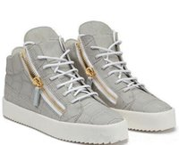 ingrosso maglia cerniera-NOVITÀ zip Scarpe firmate Italia Scarpe casual in vera pelle Cerniera dorata Sneakers alte per uomo e donna
