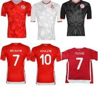 Wholesale 19 Tunisia national team Soccer Jerseys Msakni Khazri Sliti Wahbi Khaoui FAKHREDDINE BEN YOUSSE HAMZA Custom Red Football Shirt