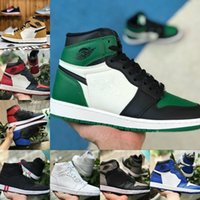 männer high top basketball schuhe groihandel-2019 Nike Air Jordan 1 retro jordans Banned Bred Royal Blue Mid Hare Damen Basketball Schuhe Herren 1s Chicago Shattered Backboard Designer Rot Weiß Sneakers