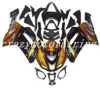 ninja 636 ouro preto venda por atacado-3Gifts Novas carenagens de plástico da motocicleta ABS aptas para kawasaki Ninja ZX6R 636 2007 2008 ZX-6R 07 08 carenagem conjunto de carroçaria conjunto personalizado ouro preto