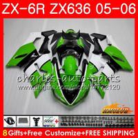 satılık zx kaplama toptan satış-KAWASAKI NINJA Için vücut ZX-636 ZX600 ZX 6R 600 ZX6R 05 06 35HC.8 ZX636 05 06 ZX 636 600CC ZX 6 R ZX-6R 2005 2006 sıcak satış yeşil Fairing Kit