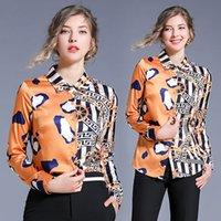 ingrosso le camicie delle signore-Camicia di risvolto qualità ha stampato le donne Moda Slim camicia di affari signora Tops maniche lunghe Primavera Autunno Camicia