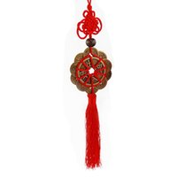 Wholesale chinese knot tassels resale online - Chinese Style Hanging Decoration Feng Shui Fortune Coin Tassel RED Hanging Peace Chinese Knot Wind Chimes Decorations