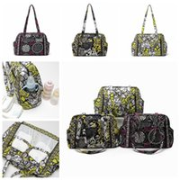 Wholesale ladies flower pouch resale online - 3styles floral printed handbag shoulder bag outdoor travel mummy bag storage pouch fashion portable women stuff bag FFA1979