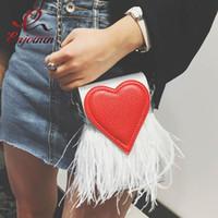 перо кошелек тотализатор оптовых-Оптово-Новый дизайн, модные перья, красное сердце, искусственная кожа, партия повседневных женских сумок, женская сумка, цепочка, сумка на плечо, телефон, кошелек, клапан