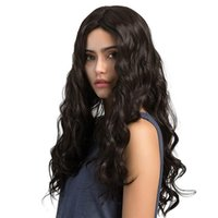 Wholesale straight pink cosplay wig for sale - Long Straight Middle Part Wigs For Women Synthetic Wavy Black Brown Blonde Pink Cosplay Daily Wig Heat Resistant