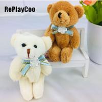 ce teddy großhandel-Kawaii Kleine Joint Teddybären füllte Plüsch mit Fliege 8cm Spielzeug Teddy-Bear Bear Ted Bären Plüschtiere Hochzeit 50PCS / LOT JAX022