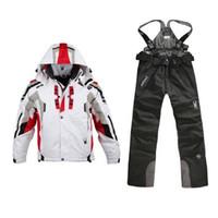 jacken hosen skifahren großhandel-Ski Bib Suit Jacket Wasserdichtes Snowboard Bunte bedruckte Skijacke und Hose Set für Männer und Frauen