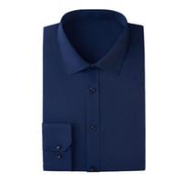dunkelrosa hemd männer großhandel-2019 New Men Dress Business Shirts Herren Langarmhemd, Farben: Weiß, Burgund, Hellblau, Dunkelblau, Schwarz, Pink, Größe: S ~ 6XL