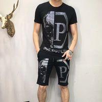 ingrosso dimensione della camicia asiatica-P marchio uomo t-shirt manica corta designer abbigliamento tute set tee + pant moda casual hip hop di lusso top tee cranio punk tirt formato asia