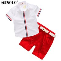 Wholesale tongs summer resale online - good quality Summer new tong han edition red stripe short sleeved shirt cuff red spot worn shorts C1