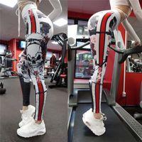 leggings de entrenamiento negros al por mayor-Cool Skull Pattern Print Leggings Fitness Leggings para mujeres Sporting entrenamiento Leggins elástico delgado negro blanco pantalones