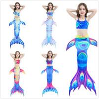 Wholesale mermaid tail dress split for sale - Group buy 2 Y Girls Mermaid Tail With Fin Princess Dress Bikini Set Split Two Piece Swimmable Bathing Suit Beachwear Girls Cosplay Cloth