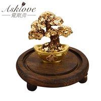 ingrosso ornamento albero denaro-Feng Shui Fortune albero di lamina d'oro Money Tree Bonsai ufficio da tavolo di Lucky Wealth Ornaments Gifts decorazione domestica con contenitore di regali