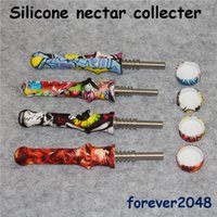 Wholesale nectar collected for sale - Group buy DHL Mini mm Silicone Water Printing Nectar collect kits Titanium Tip Silicone pipes Silicone Hookahs Pipes Glass bong