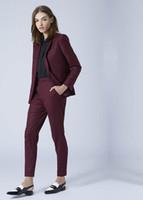 деловой костюм женщины розовый оптовых-Custom Made new Women Business Suits Double Breasted Female Office Uniform Ladies Formal Trouser Suit Flesh Pink 2 Piece Set
