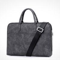 omuz taşıma çantası toptan satış-Moda Yeni 13 14 15.6 inç PU su geçirmez Çizilmeye dayanıklı Laptop Omuz Çantası Dizüstü Omuz MacBook Ai için Taşıma çantası