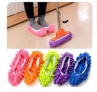 ingrosso pattini di polvere del pattino-Pantofole di pulizia del pavimento della casa del bagno della microfibra Pulitore della polvere del bagno Scarpe pigre che coprono gli accessori di pulizia della stanza da bagno Trasporto libero