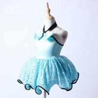 ingrosso ballerine di prua-Paillettes Bow-bow Ballerina bambini Dancewear Blue Ballet Dress Ragazze Swan Lake Ballet Costume spettacolo teatrale spettacolo per le ragazze