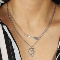 Wholesale arrow necklace diy resale online - Fresh Style Silver Color Small Arrow Heart Clavicle Chain Necklaces Pendants for Women Lover DIY Jewelry Accessories