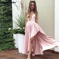 hermosos vestidos de fiesta altos y bajos al por mayor-Hermosas correas de espagueti de una línea vestido de fiesta alto bajo vestido 2019 vestidos de graduación Pink Prom